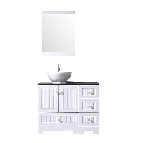 Bathjoy 36 White Bathroom Vanity Cabinet Ceramic Vessel Sink Top
