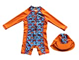 Bonverano TM Infant Boy's UPF 50+ Sun Protection L/S One Piece Zip Sun Suit Free Sun Hat