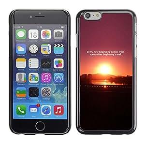 TopCaseStore / la caja del caucho duro de la cubierta de protección de la piel - Sunset Quote Message Plum Purple Black - Apple iPhone 6