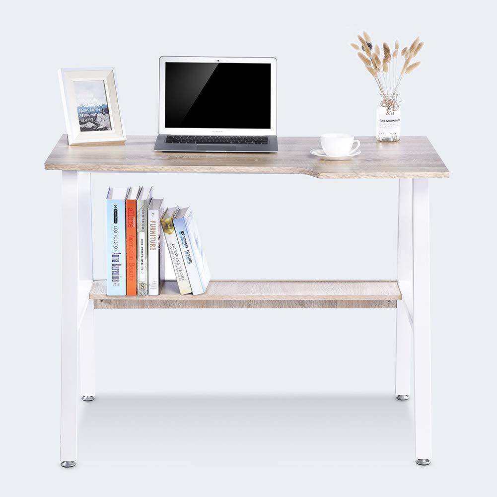 life Computer Desk Furniture Steel Frame with Shelf Home Office PC Table Workstation Oak Lv