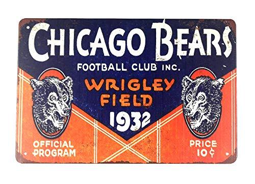 (WholesaleSarong Chicago Bears Wrigley Field Football Club 1932 tin Metal Sign Home Decor Stores Indoor Outdoor)