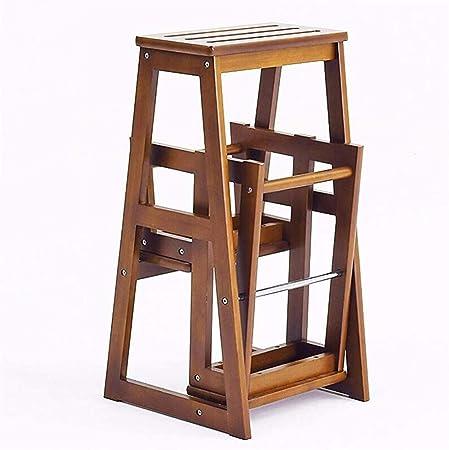 Taburete de madera Huanxie, taburete para cambiar los zapatos, escalera, escalera plegable, mueble, taburete, marrón: Amazon.es: Hogar