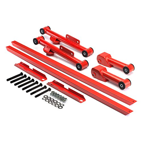 BlackPath - Fits Ford Mustang Subframe Connector + Control Arm Kit Fox Body (Red) Steel
