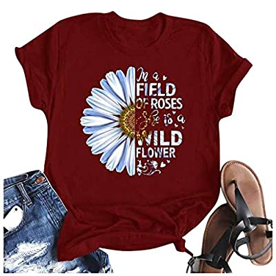 Winsummer in A Field of Roses She is a Wild Flower Shirts Women Cute Sunflower Graphic T-Shirts Letter Short Sleeve Tee at  Women's Clothing store