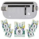 VENTURE 4TH RFID Money Belt for Travel: The Trusted Hidden Waist Stash for Men and Women Silver + RFID Sleeves