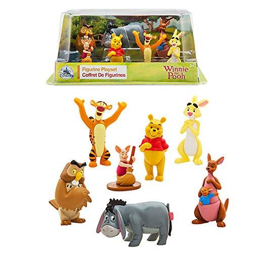 Jeu de Figurines Officiel Disney Winnie l'ourson - Winnie l'ourson, Tigrou, Porcelet, Lapin Eeyore, Hibou, Kanga et Roo