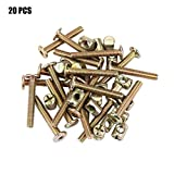 Akozon Screw and Nuts 20pcs Stainless Steel Hex