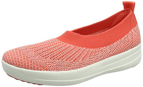 FitFlop Womens Uberknit Slip-On Hot Coral/Neon Blush Ballet Flat - 9