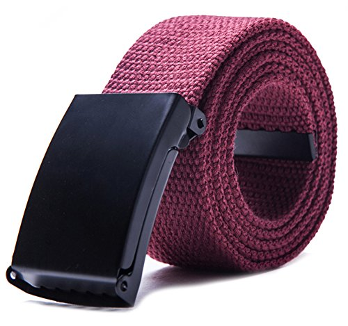 Belt Wine (Canvas Web Belt Military Style with Flip-Top Black Buckle and Tip Solid Color 50