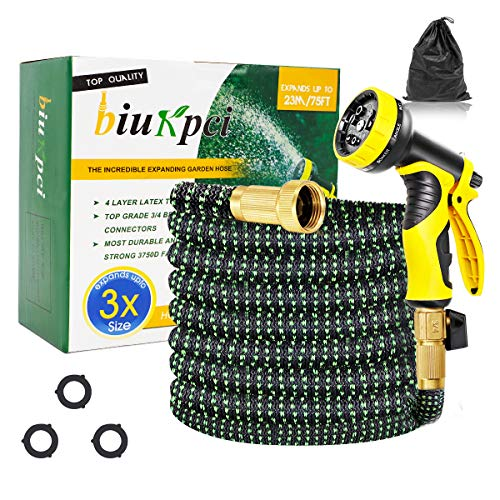 biukpci Garden Hose Expandable 75FT Flexible Water Hose No Kink with 9 Function Spray Nozzle and 3/4″ Solid Brass Connector – 3750D Fabric with Latex Core, Leak Free