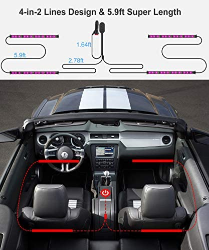 Interior Car Lights Govee Car LED Strip Light Upgrade TwoLine Design Waterproof 4pcs 48 LED APP