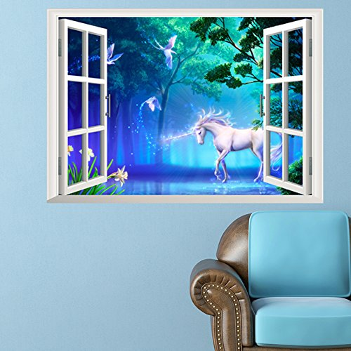 Unicorn Mural - Zooarts Diy Removable Art Mural Wall Sticker Decal Decor Unicorn Fantasy Forest 3D Window View Effect