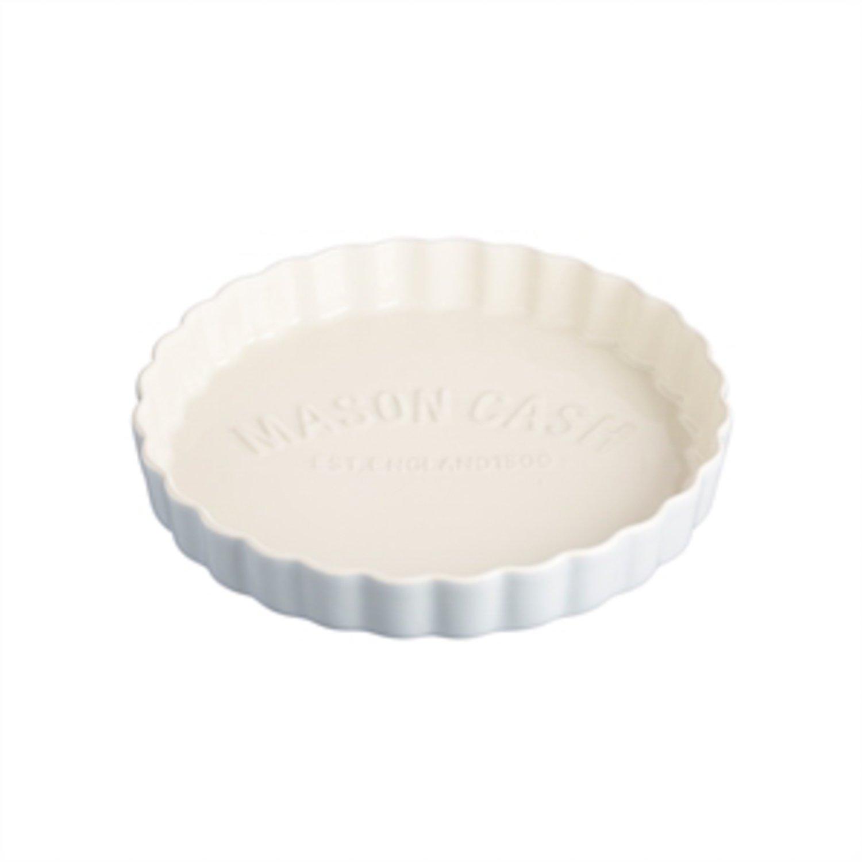 Mason Cash Bakewell Stoneware Quiche Dish, 9-1/2-Inches, Cream, Blue