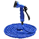 LUBAN Expandable Garden Hose Can Adjust the Shape Of the Water Rotating Spear Head Spit Out Of 7 Different Waterline High Pressure Spray Nozzle (25FT, Blue)