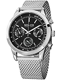 Mens 5006A.1 Monticello Stainless Steel Tachymeter Day and Date Watch with Mesh Band