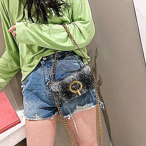 ZLMBAGUS Women Fashion Belt Bag Waist Pack Snakeskin Patterned Mini Waist Bag Fanny Pack Chain Shoulder Crossbody Phone Purse Grey