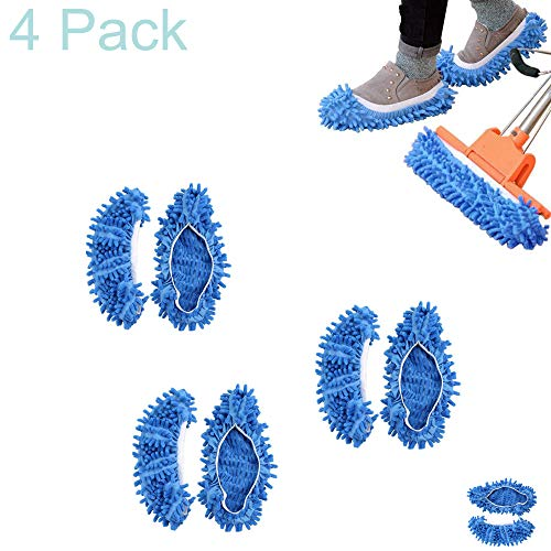 (Alovexiong 4 Pack Blue Washable Dust Mop Slippers Shoes Dust Floor House Mop Slippers Multifultional Floor Shoes Cover for House,Kitchen,Office,Bathroom)