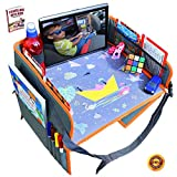 Car Seat Lap Travel Tray for Children by OT Valley   2 in 1 Convertible Snack and Play Tray and Backseat Car Organizer with Tablet Holder for Toddler Travel Tray