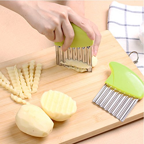 Crinkle Cut Knife set, 1 Fork Slicing Helper 3 Stainless Steel Crinkle Cutter, Fruit And Vegetable Wavy Chopper Knife, Potato Cutter Onion Cutter French Fry Cutter, 4 Colors, Kitchen Must Have Tool by AiTrip (Image #2)