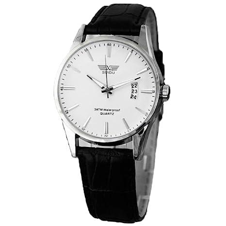 Xinantime Relojes Hombre,Xinan Clásico Negro Correa de Cuero Calendario de Pulsera de Cuarzo (