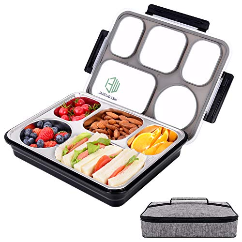 (Large Bento Lunch Box with 5 Compartments, Leakproof Lunch Containers with Removable Stainless-Steel Tray for Kids Adults, On-the-Go Meal and Snack Packing, Lunch Bag Included)