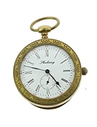 ZIJAE Antique Open White Face Analong Second Dial Roman Numerals Copper Mechanical Pocket Watch for Men