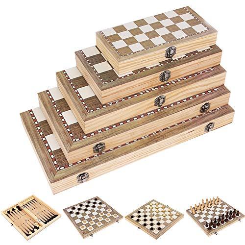 MCLseller Juego de ajedrez de Madera 3 en 1 con Caja de Almacenamiento de Tablero de ajedrez Plegable, Juego de…