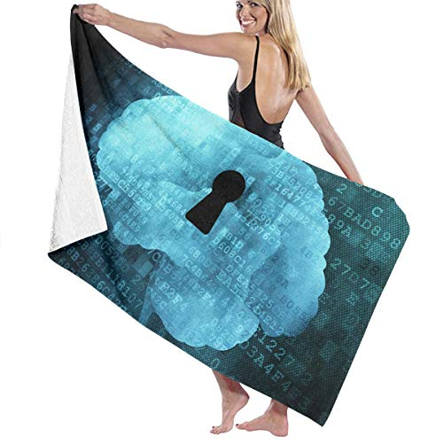 Xianjingshui 32 X 52 Inch High Absorbency Bath Towel Brain Psychology Blue Lightweight Large Bath Sheet for Beach Home Spa Pool Gym Travel