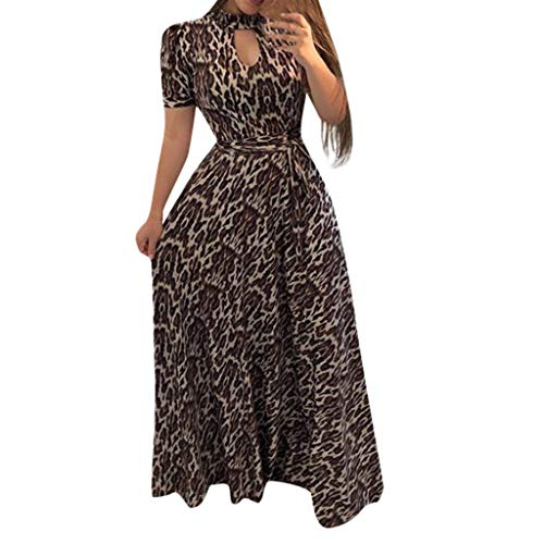 WENSY Women's Fashion Short-Sleeved High-Neck Openwork Print Retro Waist Long Dress Summer Plus Size Beach - Womens Skirt Covington