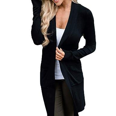 beautyjourney Cárdigan de Manga Larga para Mujer Chaquetas Largas de Color Sólido Abrigo de Mezcla de algodón Blusa Elegante Delgada Túnica Tops: Amazon.es: ...