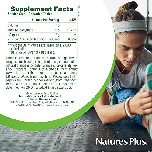 Natures Plus Orange Juice (2 Pack)- 500mg Vitamin C, 180 Chewable Tablets - High Potency Immune Support Supplement, Promotes Healthy Bones & Heart, Antioxidant - Vegetarian, Gluten Free - 180 Servings by Nature's Plus (Image #5)