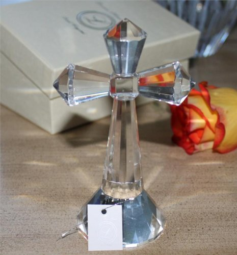 Large Crystal Cross on a Pedestal in Fancy Box