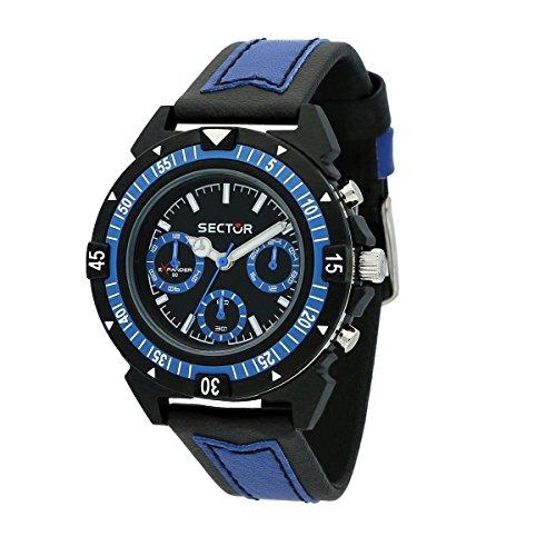SECTOR Men's Expander 90 Analog-Quartz Sport Watch with Leather Strap, Black, 18 (Model: R3251197056