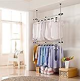 KUMEED New Adjustable 2-Tier Clothes Rack Garment Racks Steel Pipe Coat Clothing Hangers Durable (2-Tier)