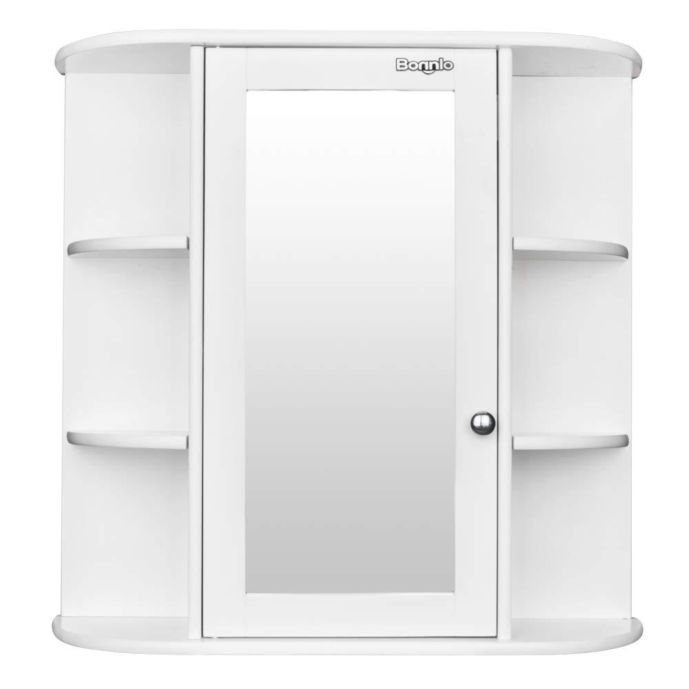 Bonnlo Bathroom Wall Mounted Cabinet 6 Shelvs Single Door Mirrior Indoor Kitchen Medicine Cabinet Shelves Organizer White Finish