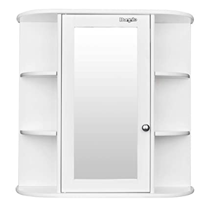 . Bathroom Wall Cabinet with Glass Door Multipurpose Storage Organizer  Shelves Home Furniture Bright White Finish