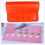 Silicone 30 Hearts Pastry Cake Macaron Macaroon Oven Baking Mould Sheet Mat DIY