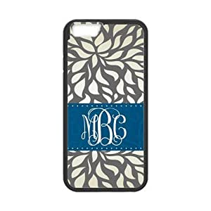 Gray Retro Pattern & Navy Ribbon Monogram Initials Or Name Personalized Custom Best Hard Plastic Case for iPhone6 ( Only for 4.7 inches)