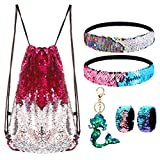 Mermaid Reversible Sequin Drawstring Backpack/Bag Rose Red/Silver for Kids Girls Review