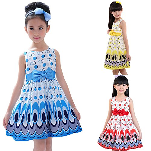 Clearance! Napoo Kids Girls Peacock Bowknot Belt Sleeveless Bubble Dress Party Princess Clothing Outfits