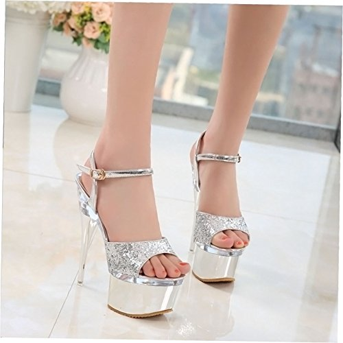 HGTYU Women'S Shoes Sequins Night Shops Sexy Crystal And S Transparent 16Cm Super Heel Waterproof Platform Fish Mouth S Fine Heel Sandals silvery 08hxBl