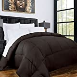 Alternative Comforter - Zen Bamboo Luxury Goose Down Alternative Comforter with Bamboo/Microfiber Blend Shell - All Season Hotel Quality Hypoallergenic Duvet Insert - Full/Queen - Chocolate