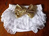 White Lace Bloomers with Headband Set, Diaper Cover with Gold Sequin Bows, 1st Birthday, Cake Smash Outfit, USA