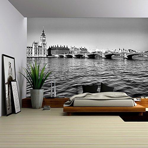 Westminster Bridge Panorama View in London Uk High Dynamic Range Hdr Black and White
