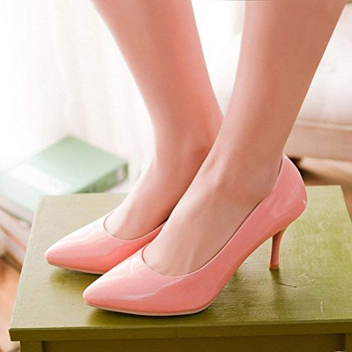 Femme Talon Pointus Rose Vernis Escarpin Chaussure Elegant YE Aiguille Haut Bout wxYIZPqWv0