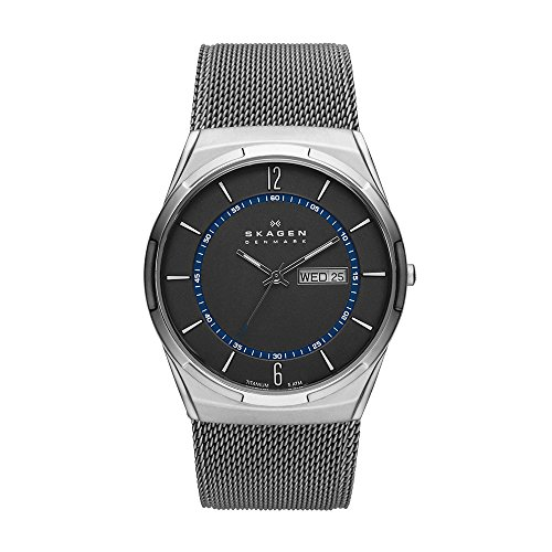 Skagen Men's Melbye Quartz Titanium and Stainless Steel Mesh Casual Watch, Color Grey (Model: - Mesh Watch Titanium