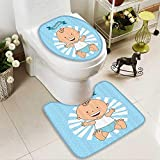 Muyindo 2 Piece Anti-slip mat set Baptism Boy Christening Striped Dotted Background Christian Rel Anti-slip Water Absorption