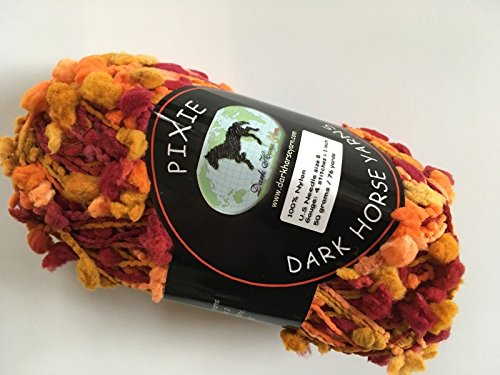 (Dark Horse Yarns Pixie #109 Oranges Burgundy-Reds Amber Pouf Pom Pom on Cord Yarn 50)