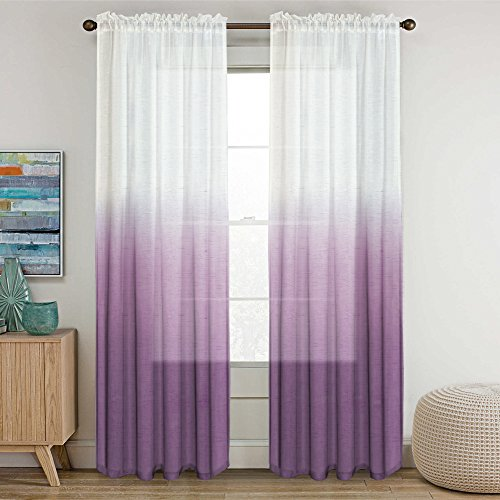 Semi Sheer Plum Curtains for Bedroom Casual Weave Textured Privacy Linen Blended Window Curtains Drapes for Living Room 84 Inches Long Window Treatments 2 Panels, Two Tone Plum Ombre