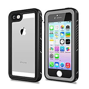 iPhone 5/5S/SE DustProof Case, Waterproof IP68 Certified and Full Body Sockproof Skin Protecto Cover